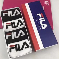 Fila Men Fashion Casual Sport 100% Cotton Socks+Gift Box