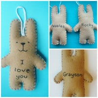 Funny Valentine plush bunny ornament - I love you bunny - Valentines gift or Christmas tree decor