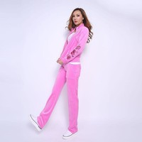 Juicy Couture Fw2017 Velour Tracksuit 2pcs Rose Embroidery Women Suits Pink-1