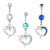 CZ Dolphin <3 Dangling Belly Button Navel Rings at FreshTrends.com