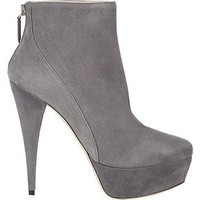 Pre-owned Miu Miu 5tp174 Nebbia Grey Suede High Heel Platform Booties