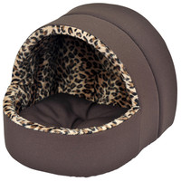 "Plush Hooded Pet Bed - 13"" Leopard"