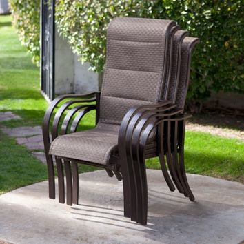 Coral Coast Del Rey Deluxe Padded Sling Dining Chair - Set of 4 | www.hayneedle.com