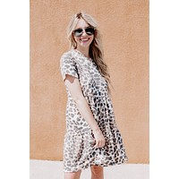 Anywhere Animal Print Tiered Dress, Taupe Leo