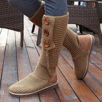 ODEMA Knitting Boots Winter Warm Ladies Foldable Female Buckle Knee High Snow Boots Mid-Calf Knitted Booties for Women = 1945885572