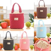 Indira Lunch Bag Thermal Insulated Dot Eiffel Tower Printing Lunch Box Cooler Bag Tote Bento Pouch Lunch Containe