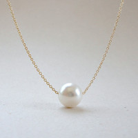 Floating pearl necklace in white, Wedding jewelry, Bridesmaid gift, Simple everyday jewelry