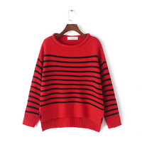 Winter Korean Stripes Bat Long Sleeve Pullover Sweater [6332336900]