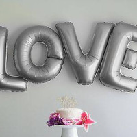LOVE Letter Balloons - 40 Inch Silver