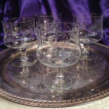 Etched Crystal Sherbet Glasses, Pussy Willow Sprays Design, Vintage Mid Century Dessert Crystal, Set of Four, Hand Blown