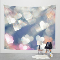 Hearts Wall Tapestry by Haroulita