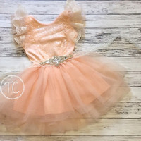 Flower Girl Dress, Coral Sequin Dress, Peach Flower Girl Dress, Lace dress, Baby Girls Lace dress, Tulle Dress, Sequin Dress