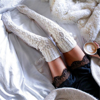 Warm Stockings NEW Women Winter Stockings Cable Knit Over knee Long Boot Thigh High