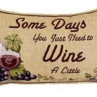 "Amazon.com: Pack of 2 Somedays You Just Need to Wine Tapestry Throw Pillows 9"" x 12"": Home & Kitchen"