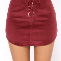 Been It Corduroy Mini Skirt - Wine