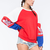 Adidas Originals La Crew Womens Sweatshirt Red Combo  In Sizes