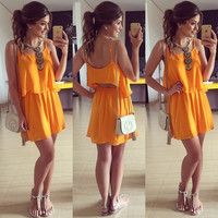 Orange Straps Cutout Double Layered Dress