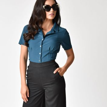 Banned Teal Button Up Short Sleeve Skye Blouse