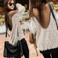 Sexy Trendy Backless Mesh Inset Faux Fur Loose Sweater Pullover Autumn Winter Fashion = 1932970564