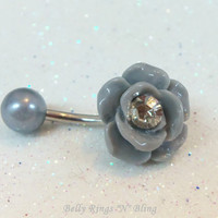 Belly button ring, belly button jewelry, bellybutton ring with grey rose, crystal chaton and pearlized ball