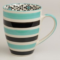 Turquoise Stripe Holland Park Mugs, Set of 4