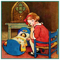 Young Girl Rocking Baby Doll By Jessie Willcox Smith Counted Cross Stitch Pattern