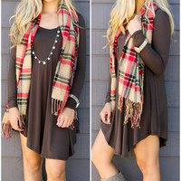Follow Your Heart Brown V-Neck Long Sleeve Dress
