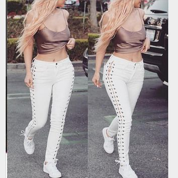 Fashion new Skinny Trousers featuring Side Lace-up Detail pant