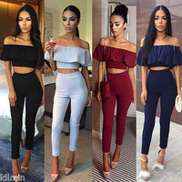 Fashion Women 2 pieces Jumpsuits and Rompers Sleeveless Bodycon Long Pants Crop Top Two pieces Outfits Sexy Rompers For Women