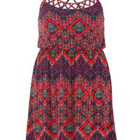 openwork printed plus size dress