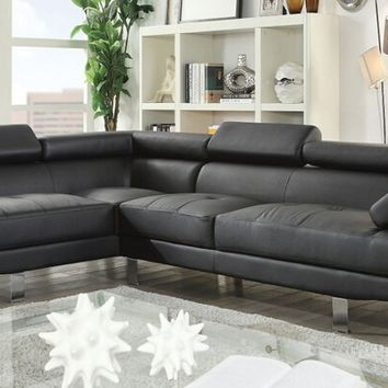 Acme 52650 2 pc connor zorba modern style black faux leather sectional sofa