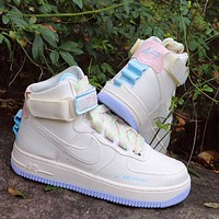 Nike Air Force 1 AF1 cherry blossom pink macaron mandarin duck functional sneakers Beige light blue soles