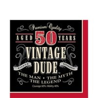 Vintage Dude 50th Birthday Lunch Napkins 16ct