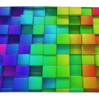 "GP Rainbow Of Colorful Boxes Bath Mat Rug, Microfiber Memory Foam with no skid back, 34""x21"" GN26295"