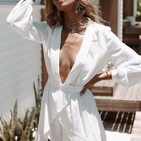 Plunge Lapel Playsuit - Playsuits by Sabo Skirt