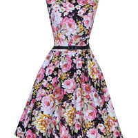Floral Sleeveless Belted A-Line Pleated Mini Dress