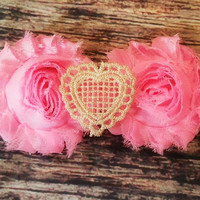 Light Pink Shabby and Gold Glitter Heart Headband!