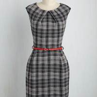 Teaching Classy Sheath Dress in Black Plaid | Mod Retro Vintage Dresses | ModCloth.com