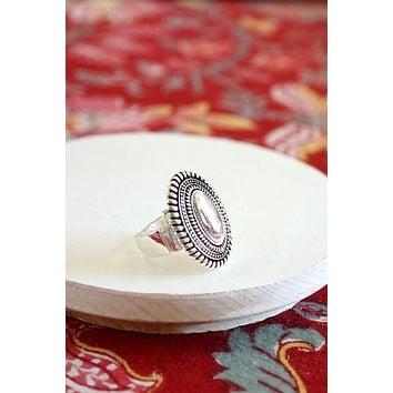 Navajo Concho Inspired Oval Ring in Silver Tone