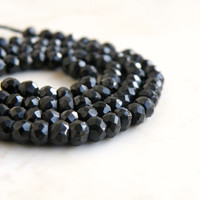 51% OFF Black Spinel Gemstone Faceted Rondelle 4mm Full Strand 100 beads Wholesale
