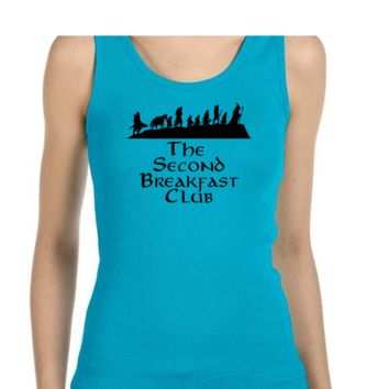 Second Breakfast Club Ladies or Mens Tank Top, Lord of the Rings, Tolkien, Nerd Girl Tees, Geek