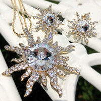 Womens Gold Plated Sun Pendant Double Necklace Earrings Set Swarovski Crystal Nickel Free