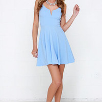 Best Place to V Light Blue Skater Dress