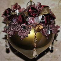Gold Top Hand Decorated Victorian Glass Ornament