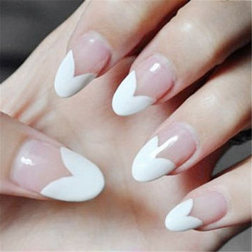 1Set/24Pcs Heart Pattern Design Transparent Nail Art Fake Finger Nails (Size: 24, Color: White) = 1841574980