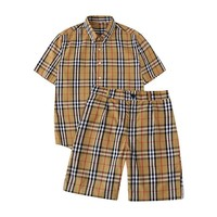 BURBERRY Summer Fashionable Retro Plaid Shirt Top Tee Shorts Set Two-Piece