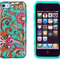 DandyCase 2in1 Hybrid High Impact Hard Vintage Floral Pattern + Silicone Case Case Cover For Apple iPhone 5C (not iPhone 5/5S) + DandyCase Screen Cleaner