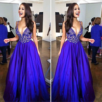Modest Prom Dresses Long Sleeveless A-line Royal Blue Sexy Prom Dress Ever Pretty QW13 Deep V-neck Fashion Party Prom Gowns 2016