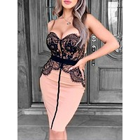 Lace Bra Solid Color Dress