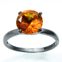 Orange Sapphire Ring in Sterling Silver, Blackened Silver Cocktail Ring with Padparadsha Sapphire